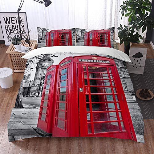 Bedsure Funda Nórdica,Cabina telefónica roja Vintage London Street Scenery Big Ben City Landmark,Fundas Edredón 200 x 200 cmcon 1 Funda de Almohada 40x75cm
