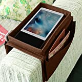 JIAHG 5 Pockets TV Remote Control Holder Couch Sofa Tray Armrest Organiser Oxford Chair Couch Caddy Sofa Armrest Bag Bedside Storage Hanging Organiser for Magazine Books Snack Mobile DVD Cellphone