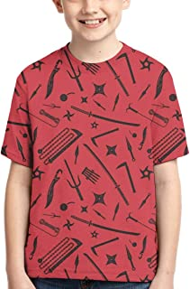 CWC Chad Wild Clay Boy T-Shirt Print Tee Youth Fashion Tops (Red, XS)