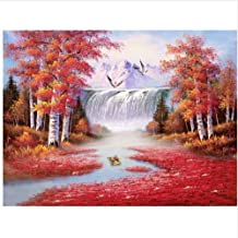 Painting by Numbers DIY Oil Painting Bird Red Forest Waterfall for Children Adults Beginners Wall Art Decoration