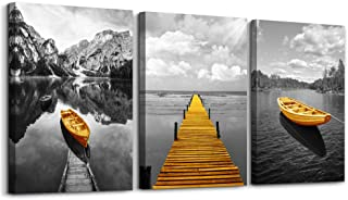 Black and White Golden Yellow Boat Coastal sea Landscape 3 Panels Canvas Wall Art for Living Room Bedroom Mural Wall Decorations Print Picture Artwork Bathroom Wall Decor Modern Seaview Wall Painting