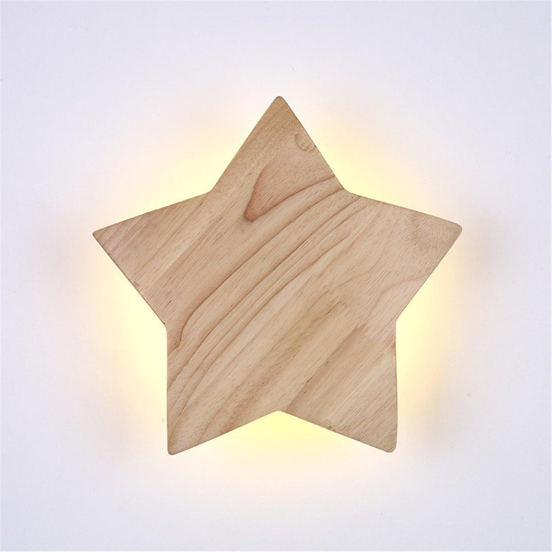 Amadoierly Wandleuchte Single Head Massivholz Nachttischlampe Schlafzimmer im europischen Stil Wohnzimmer Balkon Treppe Gang Wand, 22X22cm, warmes Licht