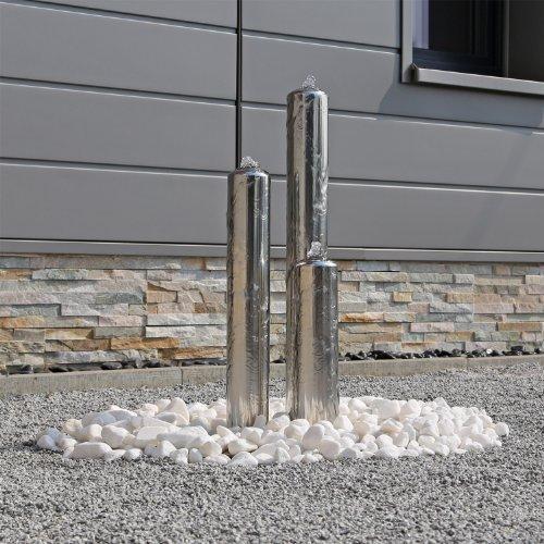 Gartenbrunnen aus Edelstahl poliert ESB1 mit 3 Säulen 65cm Höhe Springbrunnen Säulenbrunnen Wasserspiel mit LED Beleuchtung für den Außenbereich Brunnen Garten 12V AC