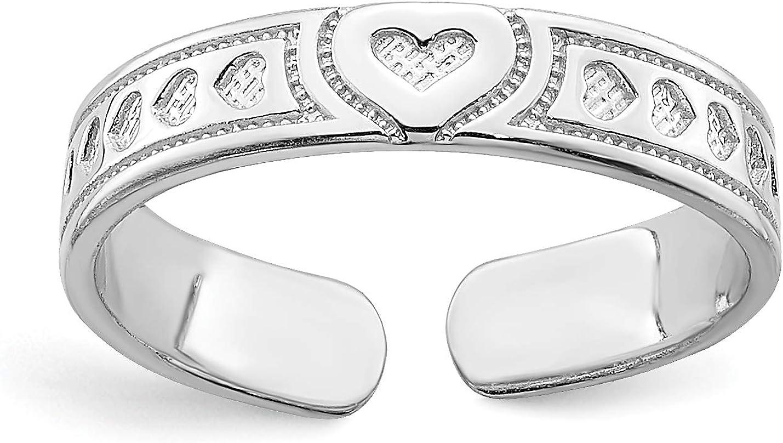 14k White Gold Multi Hearts Toe Ring