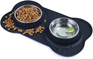 Dog Bowls Double Stainless Steel Pet Bowls for Food and Water with A No-Spill Silicone Mat Foldable and Compact Double Pet...