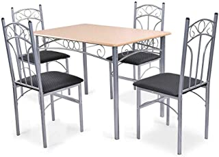 Thaweesuk Shop New 5PCS Wood and Metal Dining Set Table and 4 Chairs Home Kitchen Modern Table: 43.3