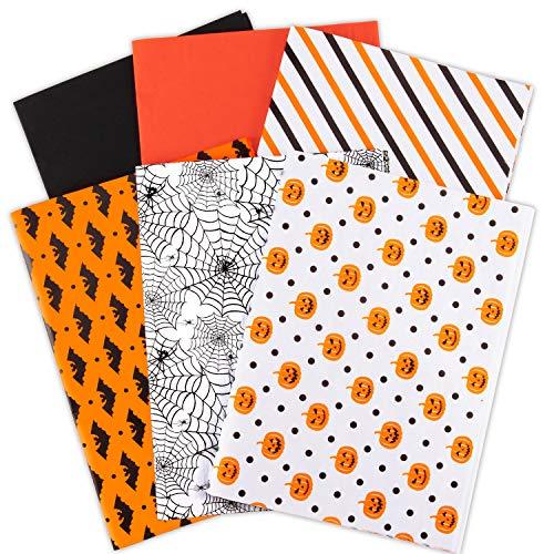 Whaline 120 hojas de papel de seda de Halloween, papel de regalo, color naranja y negro, diseño de calabaza, tela de araña, manualidades, para Halloween, otoño, cumpleaños, boda, fiesta, regalo, bolsa de regalo, confeti (6 diseños)
