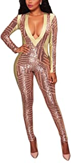 Women's Long Sleeve Bodycon Sequins See Through V Neck Skinny Sexy Jumpsuit Romper