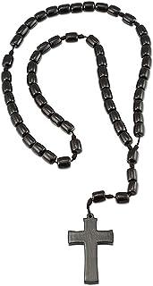 Catholica Shop I Catholic Religious Wear I Wooden Beads Necklace with Cross Pendant - 19 Inch I Catholic Rosary Necklace I...
