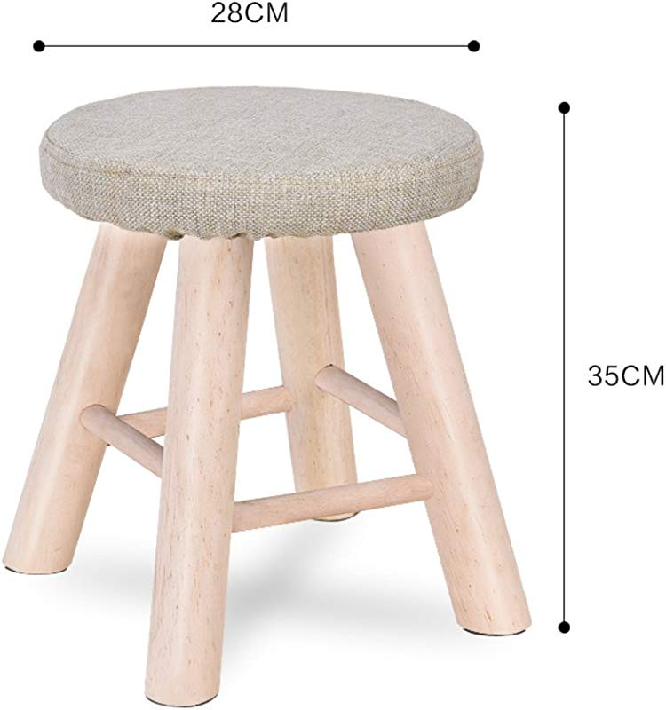 D L Solid Wood Round Footstool Ottoman Creative Cute Stool For Kids Fabric Cover 4 Legs And Removable Linen Cover A L28xW28xH35cm