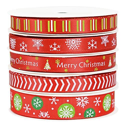 YAMA Christmas Ribbon - Grosgrain Satin Fabric Ribbon Set 25Yards 3/8' - for Christmas Holiday, Gift Wrapping, Hair Bow Clips, Gift Bows, Craft, Sewing, Wedding