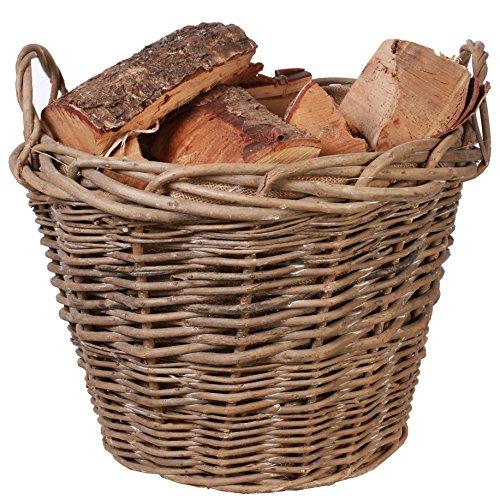 BASIC HOUSE Rustic Countryside Style Chunky Wicker Fireside Heavy Duty Log Baskets