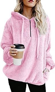 Womens Sherpa Pullover Fuzzy Fleece Sweatshirt Oversized Hoodie with Pockets