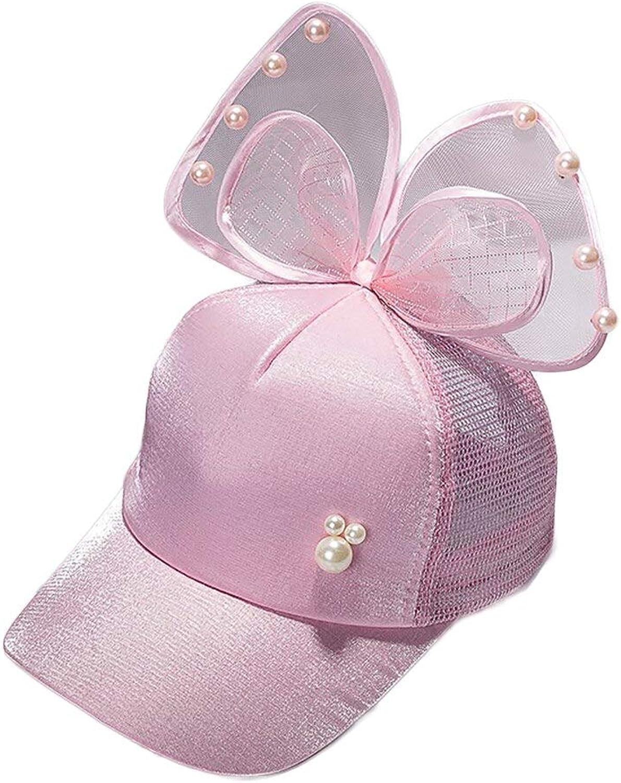 WLEZY Baseball Cap Bow Decoration boy Kid Girl Casual Sun hat Outdoor Pearl Baseball Cap