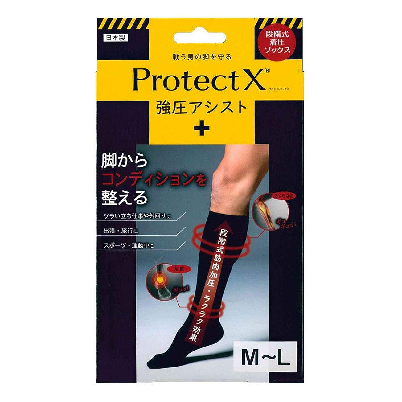 ナチュラル話をする通行人Protect X(プロテクトエックス) 強圧アシスト つま先あり着圧ソックス 膝下 M-Lサイズ ブラック