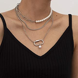 Anglacesmade Punk Gelaagde Parel Paperclip Link Ketting Ketting 3 Stks Stapelbare Chunky Geometrische Choker Ketting Prom ...