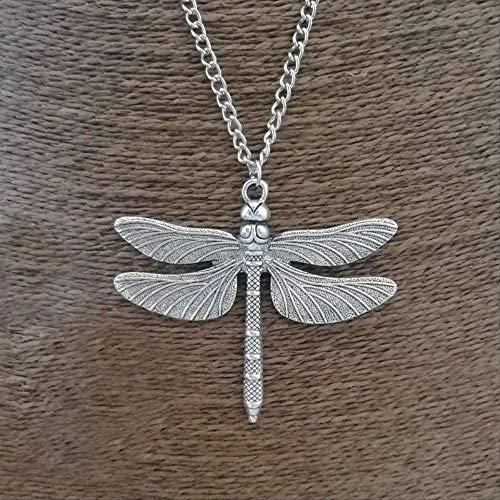 LBBYMX Co.,ltd Necklace 1 x Tibetan Silver Big Big Abstract Dragonfly Pendant Necklaces Adjustable Long Length Link Chain Choker Jewelry