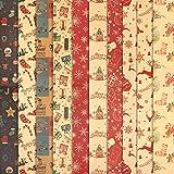 HOWAF 10 Hojas Papel, Grandes de Papel de Envolver navideño, 70 cm x 50 cm, 10 diseños, muñeco de...