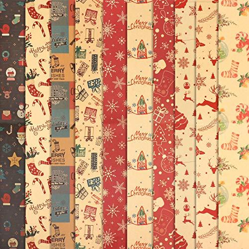 HOWAF 10 Hojas Papel, Grandes de Papel de Envolver navideño, 70 cm x 50 cm, 10 diseños, muñeco de Nieve , Papá Noel, árbol de Navidad, Reno