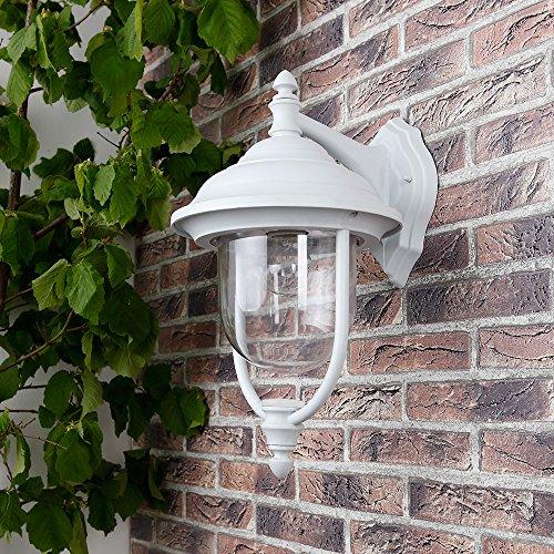 Außenwandleuchte in Weiß, klassische Form   Wandleuchte E27 230V   Wandlampe Außen max.60W   Aussenwandlampe max.60W Leuchte IP44