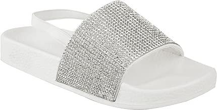 Fashion Thirsty Kids Childrens Flat Diamante Summer Sliders Sandals Flip Flops Beach Size