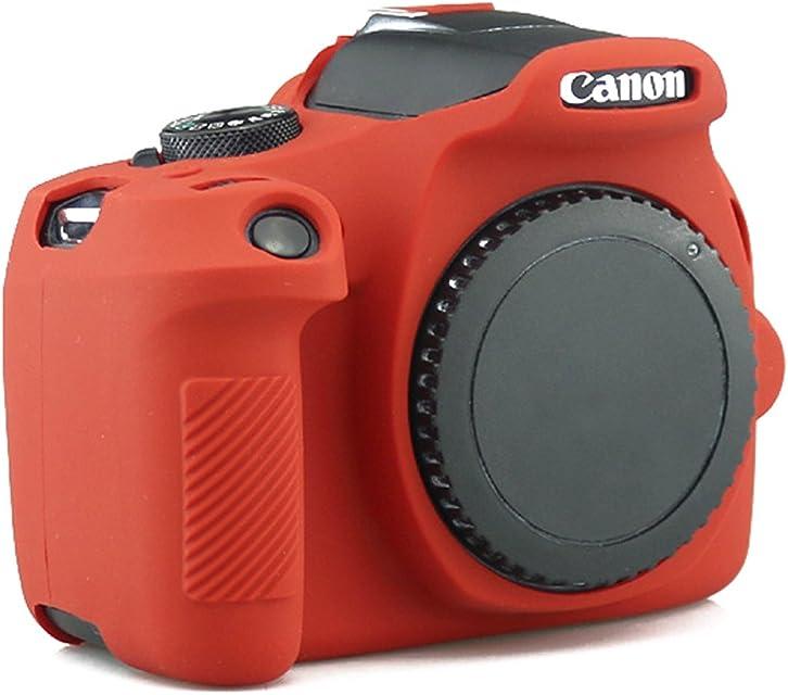 tuyung silicona cuerpo completo cubierta protectora piel Funda para Cámara Canon EOS 1300d Rebel T6Cámara Digital (rojo)