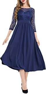 e6b104fd0d AUQCO Women s Floral Lace Wedding Cocktail Swing A-line Dress with 3 4  Sleeve