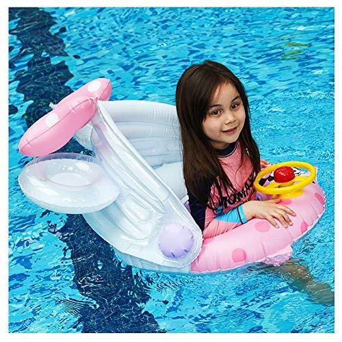 Waterbevestiging Speelgoed Geschikt voor het Strand Zomerfeest Buiten Waterrecreatie AJH Kids Zwem Float Trainer met Afneembare Zonnescherm Opblaasbare Zitboot Zwemring Zomer Zwembad Ligstoelen Waterspeelgoed voor 2-6 Jaar