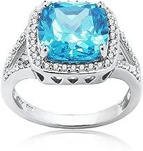 Sterling Silver Light Blue Cubic Zirconia Cushion-cut Halo Split Shank Ring