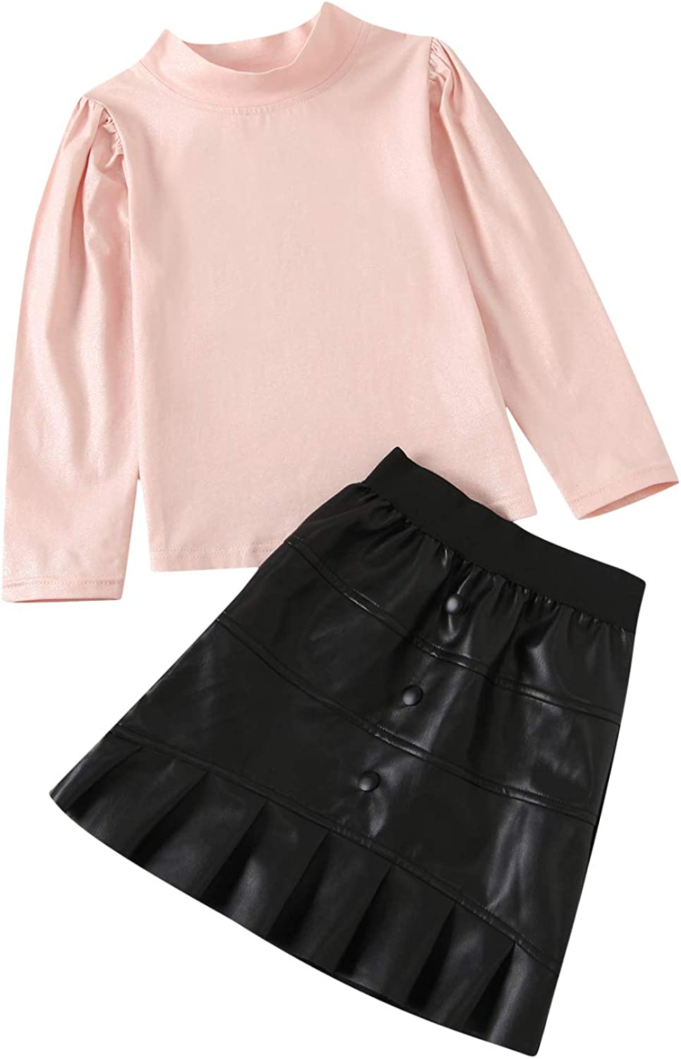 Kids Toddler Baby Girl Fall Winter Outfit Long Puff Sleeve Turtleneck Shirt Top PU Leather A-Line Skirt 2PCS Clothes Set