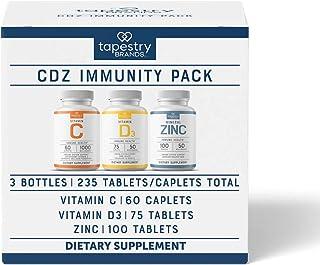 Immunity Pack (3-Bottles). Vitamin C, Vitamin D3, Zinc. Immune System Health, Bone Health, Antioxidant Support, Healthy Ha...