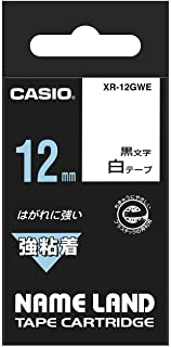 Casio EZ-Label Printer XR-12GWE, Tape, Extra Strong, self-Adhesive, 12 mm x 5.5 m, Black on White