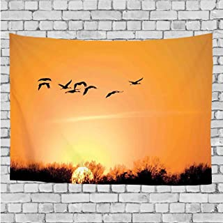 GULTMEE Home Decor Tapestry,Bird Migration Over Desert Autumn View at Sunset Evening Seasonal Picture Print,Wall Hanging for Bedroom Living Room Dorm 60Wx40L Inch