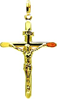 Ciondolo Oro Giallo 18kt (750) Pendente Croce Smussata Gesù Cristo Crocifisso Uomo