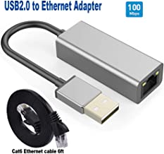 USB to Ethernet Adapter (and Cat 6 Ethernet Cable 6ft),USB 2.0 Network Adapter,UKYEE10/100 RJ45 LAN Wired Adapter for Dell HP Labtop, MacBook, Windows 10, 8.1, Mac OS