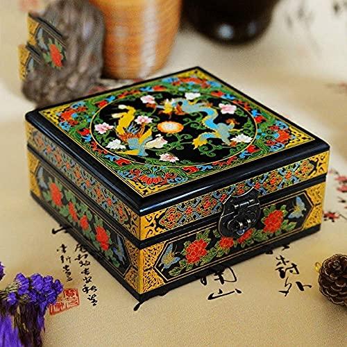 WYZQ Chinesische Aufbewahrungsbox, Retro Push Light Lack mit Schloss DoubleDecker Piano Paint Makeup Schmuck Aufbewahrungsbox Lackierter Lack Muttertag, Mutter (B)