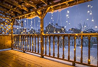 Baocicco Wooden Balcony Shiny Curtain Lights Backdrop 10x8ft Photography Background Countryside Snow Field Rural Winter Landscape Christmas Eve New Year Holiday Children Party