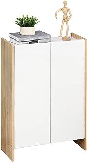 HOMCOM Meuble de Rangement 2 Portes Salle de Bain Salon Couleur Blanc et chêne dim. 60L x 25l x 90H cm