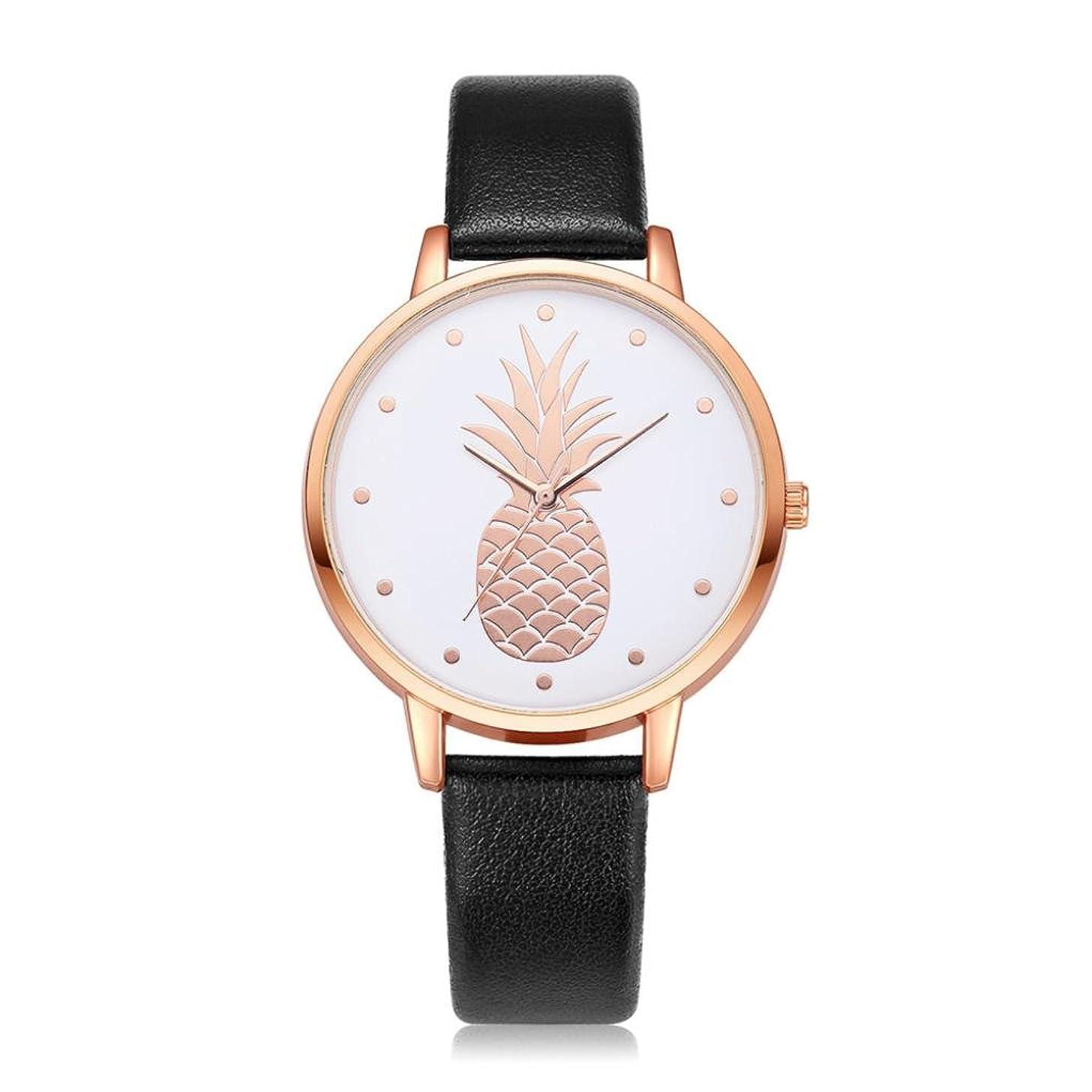 Swyss Women's Simple Fashion Watch Cute Pineapple Pattern Dial Leather Analog Quartz Wrist Watch Chic Sweet Style (D)
