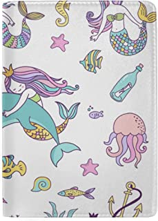 Beautiful Shining Fantasty Mermaids Blocking Print Passport Holder Cover Case Travel Luggage Passport Wallet Card Holder Made with Leather for Men Women Kids Family