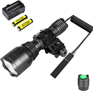 BESTSUN Tactical Flashlight 1200Lumens Waterproof Cree L2 LED Hunting Light with Picatinny Rail 45° Offset Side Mount, Pressure Switch, Rechargeable Batteries and Charger