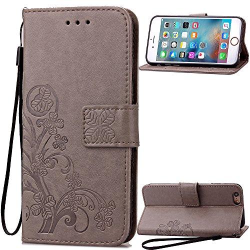 Qiaogle Telefon Case - PU Leder Wallet Schutzhülle Case für Letv LeEco Le 2 X620 / LeEco Le 2 Pro - SD04 / Grau Lucky Clover