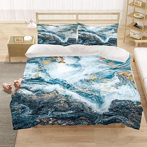 BHFDCR Bettbezug Bettwäsche Set 3 Teilig Marmoroptik 3D Digital Print 220 x 230 cm Weiche Bettwaren aus Mikrofaser Mit Reißverschluss 1 Bettbezug + 2 Kissenbezug, Schlafkomfort