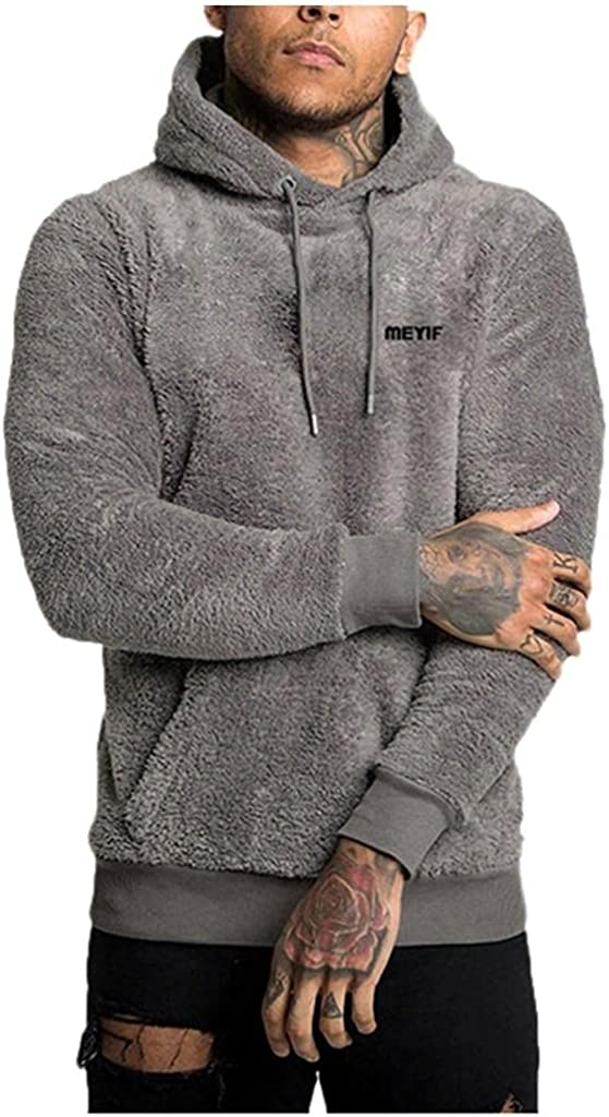 Qsctys Mens Fuzzy Pullover Hoodies Sweatshirts Thick Fleece Long Sleeve Sport Front Pocket Fall Outwear Winter Hooded Fashion