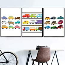 JHCH Canvas Pictures Cartoon Car Bus Truck Print Nursery Wall Art Canvas Painting Nordic Canvas Posters and Prints Wall Pictures Boy Kids Room Decor-40X60Cmx3 Pcs unframe