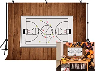 LYLYCTY 7x5ft Basketball Birthday Party Backdrop Basketball Court Wooden Photo Banner Happy Birthday Photography Background LYLS927