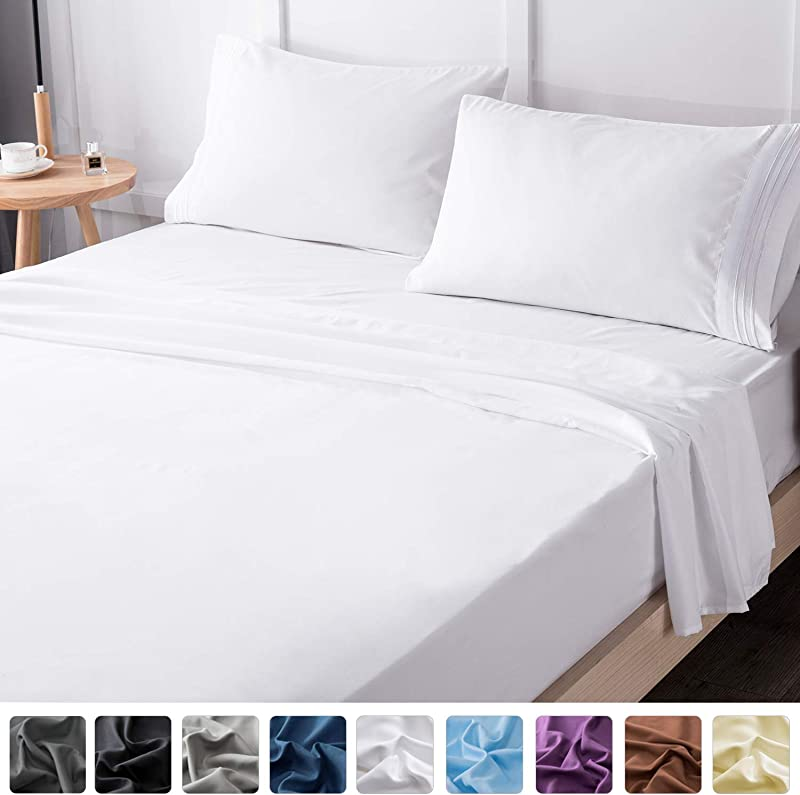 LIANLAM King Bed Sheets Set Super Soft Brushed Microfiber 1800 Thread Count Breathable Luxury Egyptian Sheets 16 Inch Deep Pocket Wrinkle And Hypoallergenic 4 Piece King White