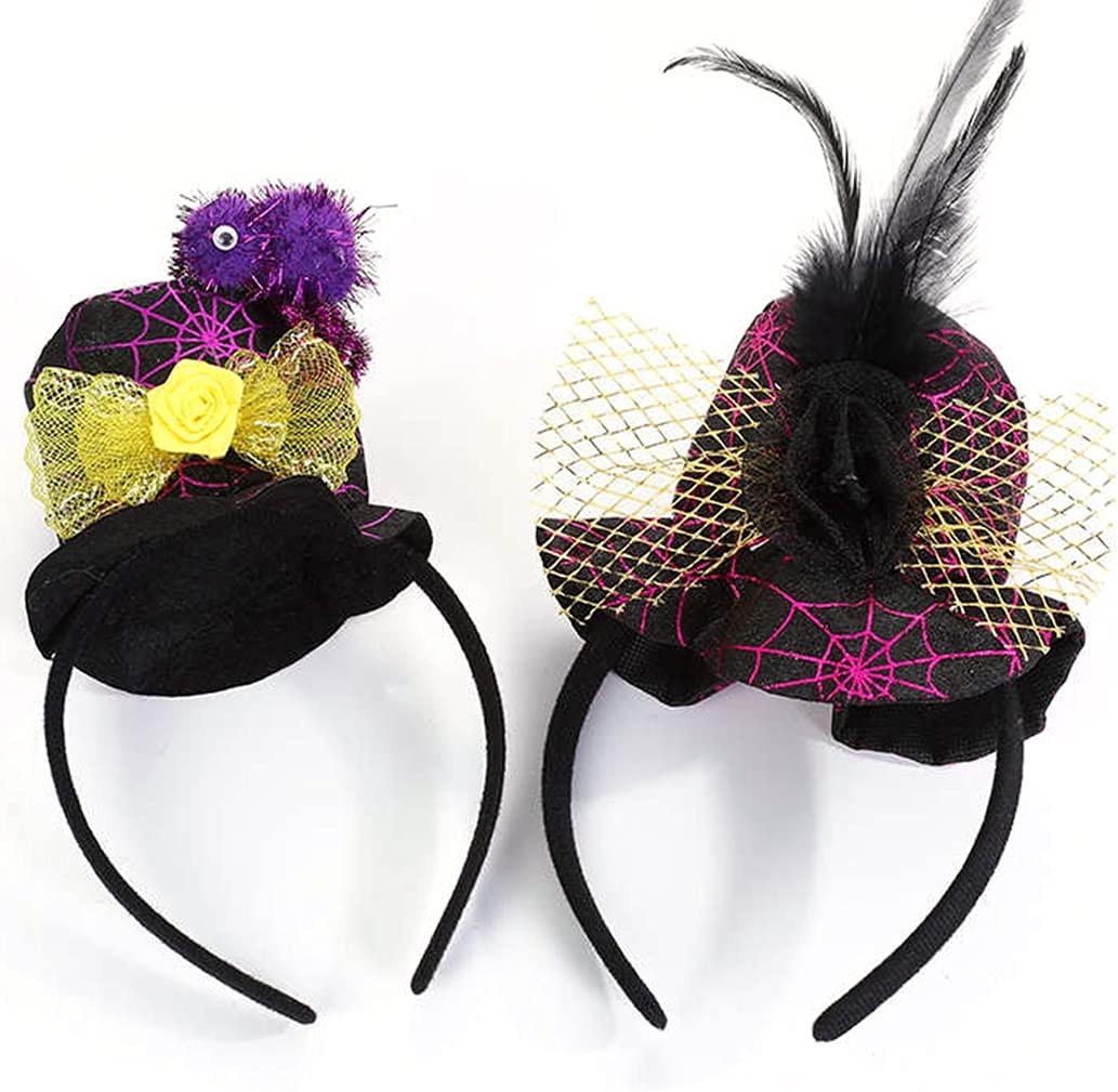 Licogel Halloween Headband Fashion Mesh 2PCS Funny Witch Hat Headband Fascinator Hat Elegant Creative Vintage