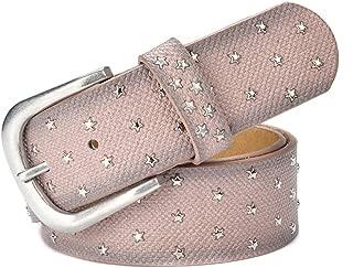 GLJJQMY Women's Belt Alloy Pin Buckle Metal Rivet Inlaid Korean Fashion Retro Belt Ladies Belt (Color : Pink)