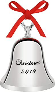 Cleaky 2019 Christmas Bell Holiday Tree Ornament Decoration with Red Tie Hanging Ribbon Engraved Bell Ornament